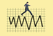 A businessman jumps from peak to peak on a very volatile financial chart against a yellow background.