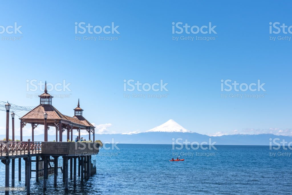 Volcan Osorno seeing from Frutillar stock photo