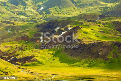 Reykjadalur Hot Spring Thermal River in Southern Iceland Landscape