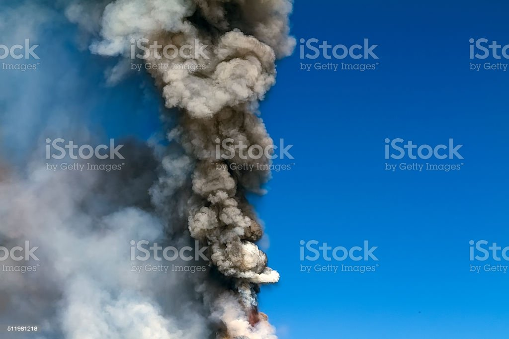 Volcanic ash and gas stock photo
