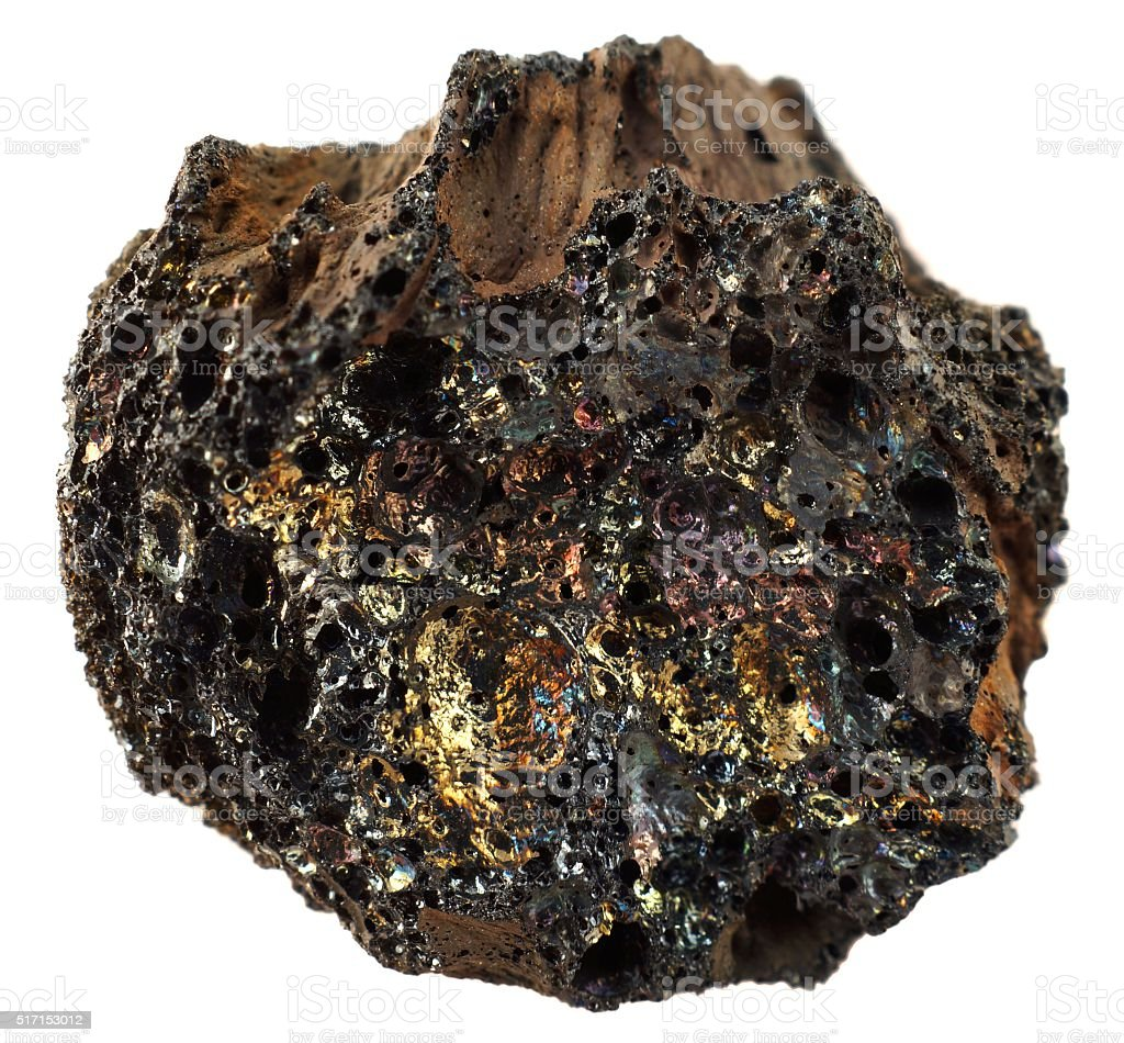 Avec des pierres de basalte volcaniques multicolore métallisé verre. - Photo