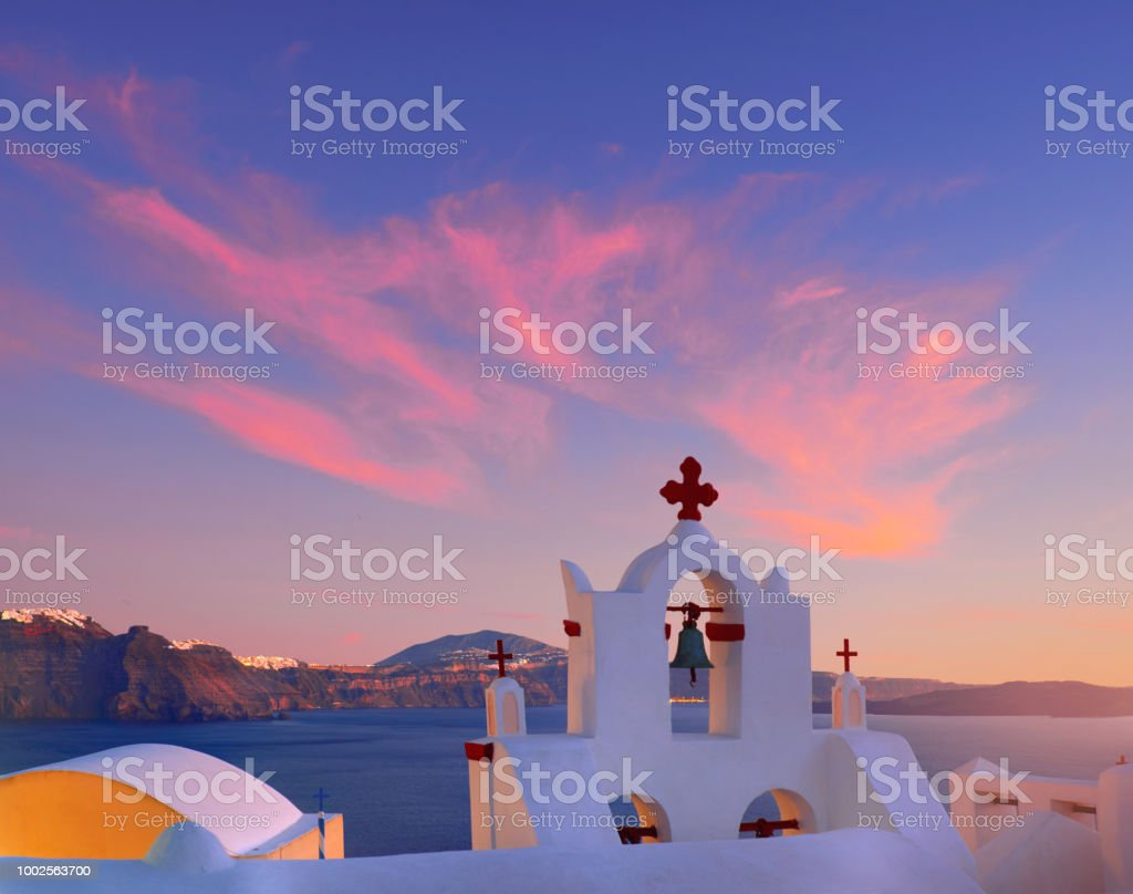 Volcanic Caldera On Santorini Island Over The Bell Tower Of The Local Church In Oia Santorini Stock Photo Download Image Now