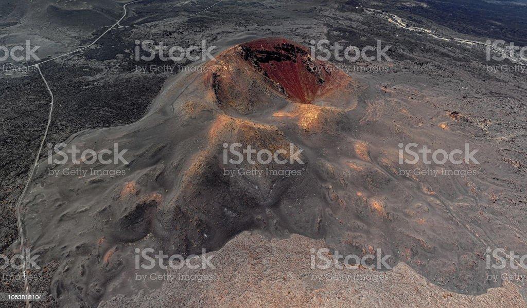 Volcanic crater aerial panorama, Timanfaya National Park, Lanzarote, Canary Islands stock photo