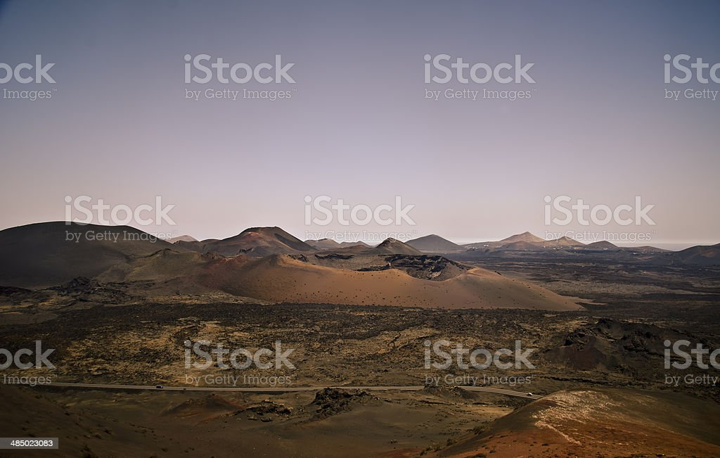 Volcanic crater and panorama, Lanzarote stock photo