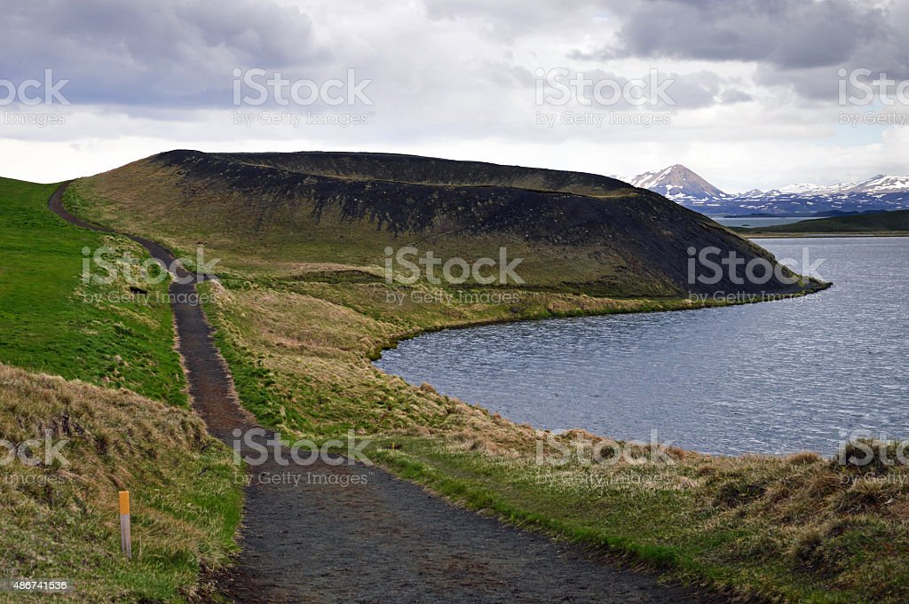 Volcanic crater in Iceland stock photo