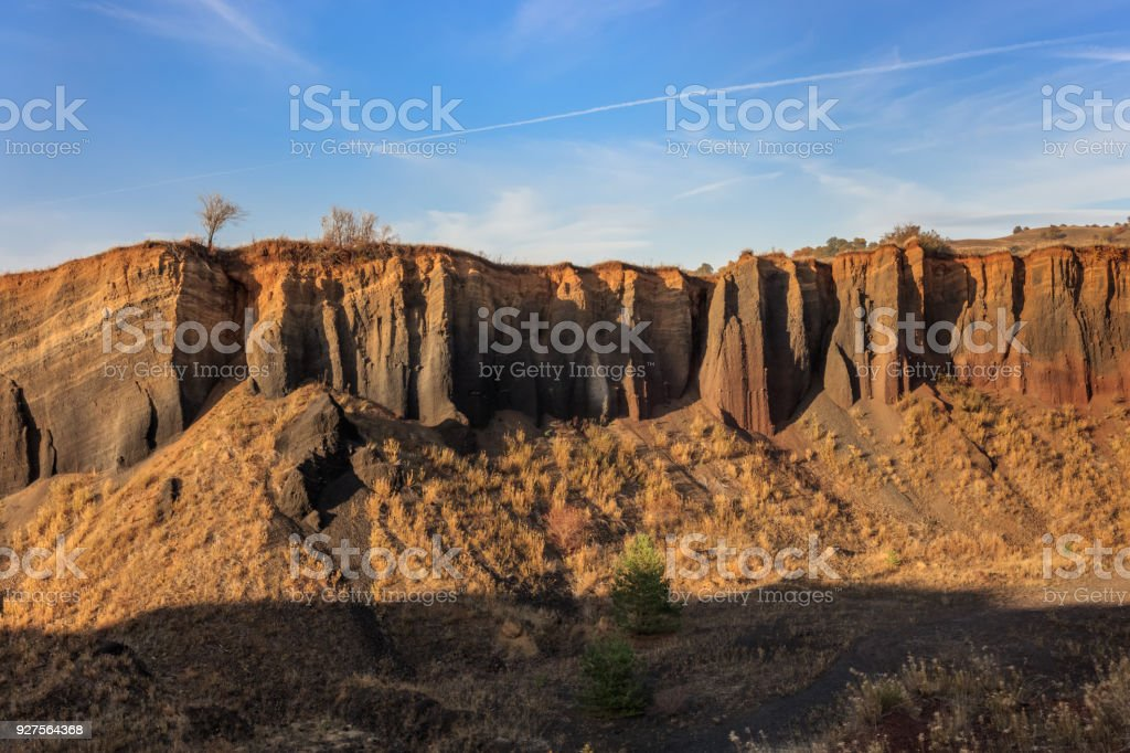 volcanic crater in Racos village. Brasov county, Romania stock photo