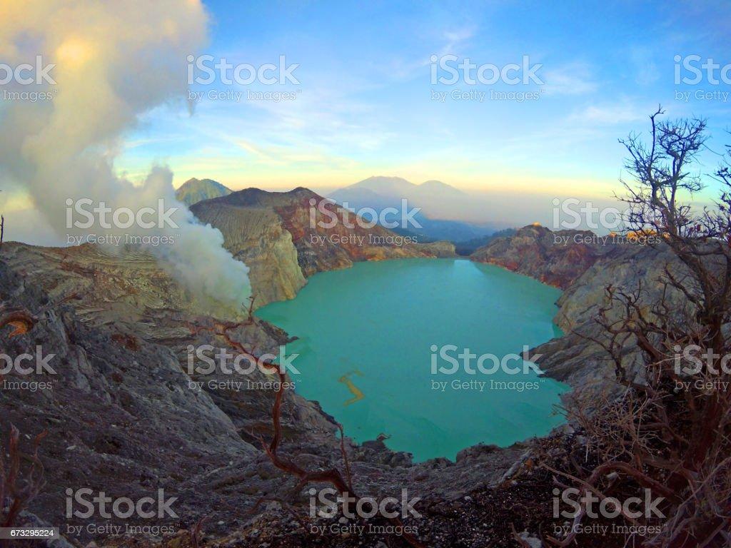Volcanic crater lake of Kawah Ijen, Indonesia royalty-free stock photo