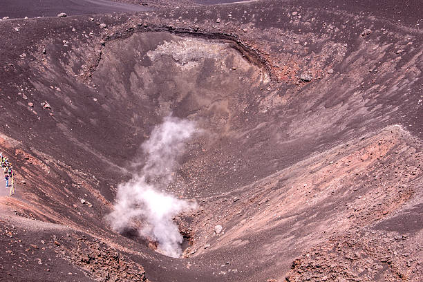 Volcanic Crater on Mount Etna, Sicily stock photo