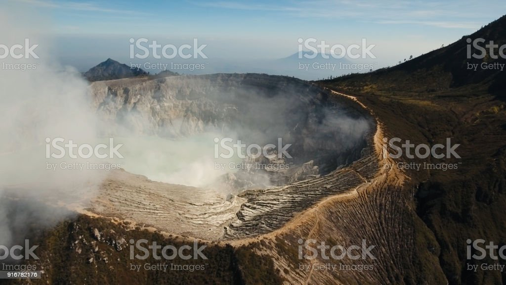 volcanic crater where sulfur is mined stock photo more pictures of