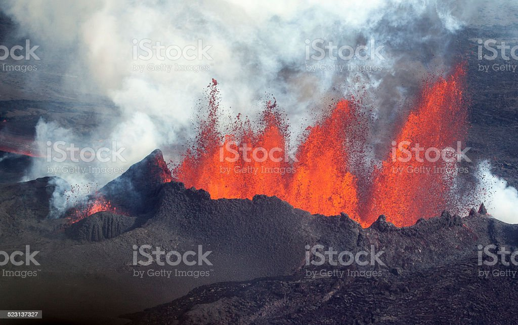 Volcanic Eruption at Holuhraun Iceland (2014). royalty-free stock photo