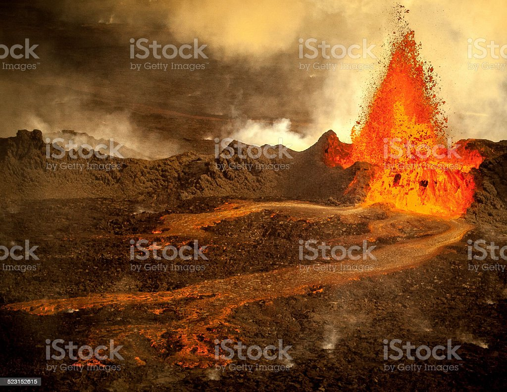 Volcanic Eruption in Holuhraun Iceland stock photo