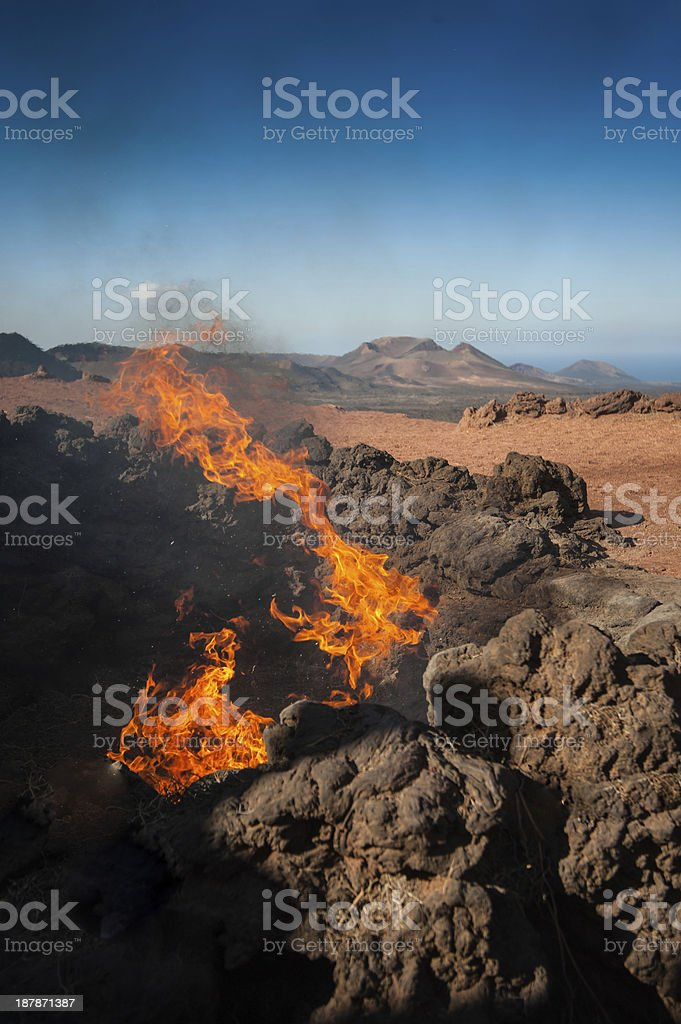 Volcanic eruption, Lanzarote stock photo
