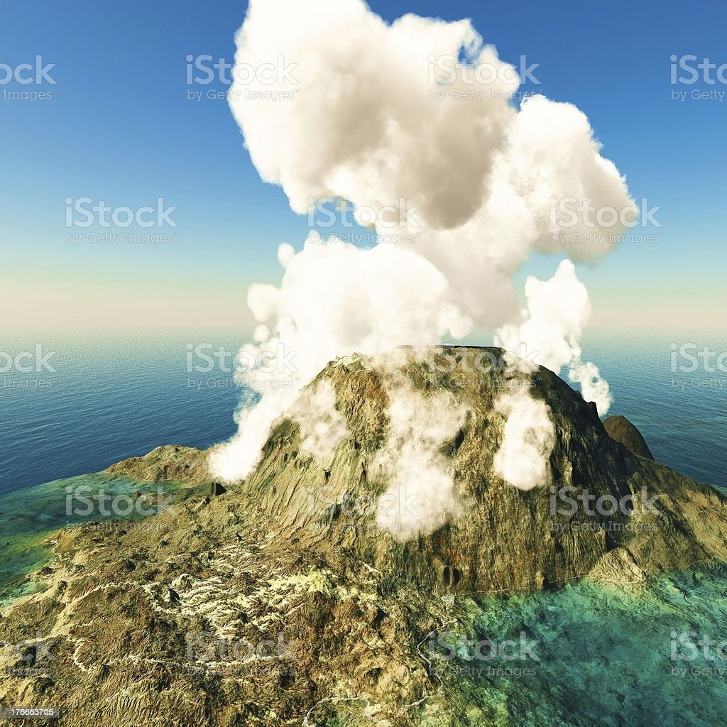 Volcanic eruption on island royalty-free stock photo