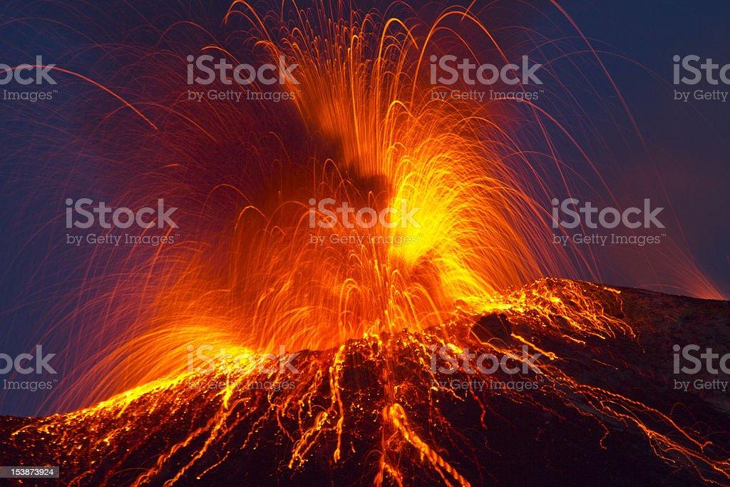Volcanic Eruption Volcano stromboli with strong eruption Active Volcano Stock Photo