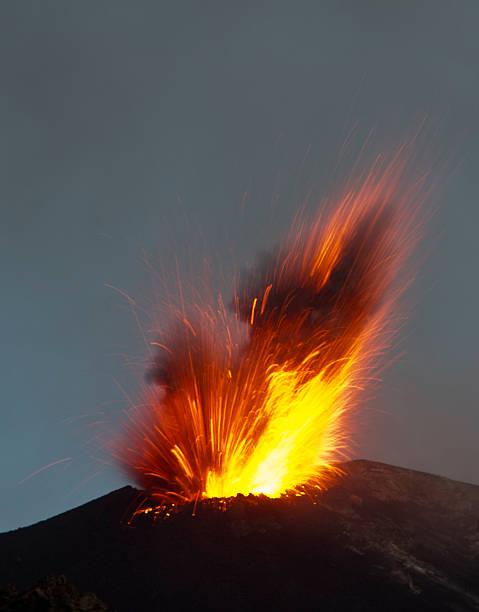 Volcanic explosion stock photo