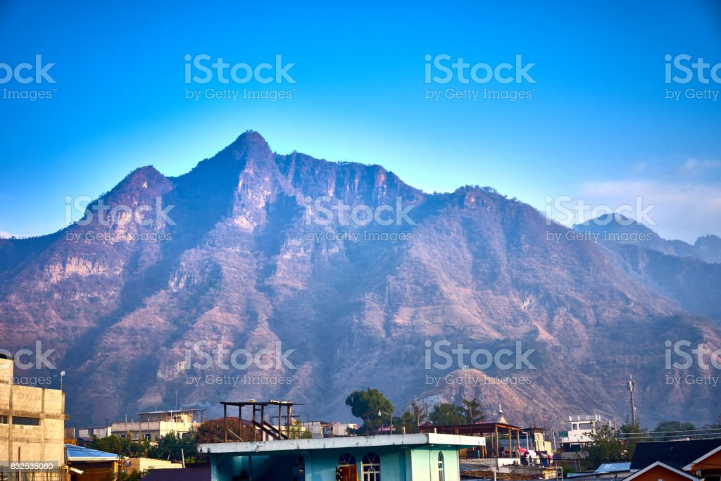 Volcanic highlands of Atitlan in Guatemala stock photo
