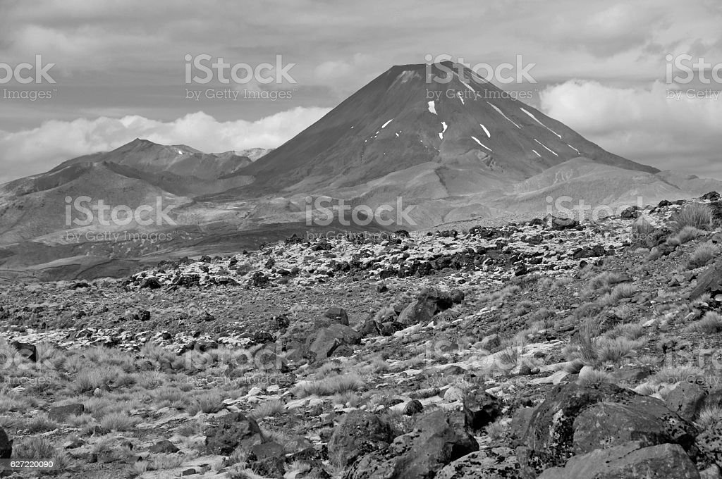 Volcanic landscape around Tongariro Crossing, New Zealand stock photo