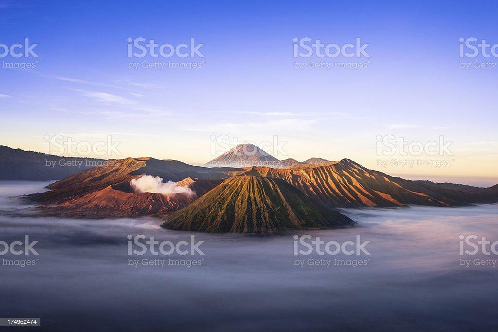 Volcanic Landscape at Sunrise in Bromo Tengger Semeru National Park stock photo