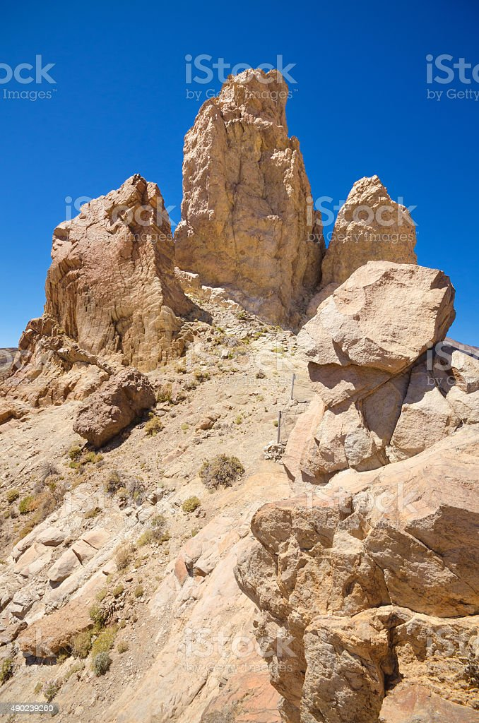 Volcanic landscape in Teide national park, Tenerife canary islands, Spain. stock photo