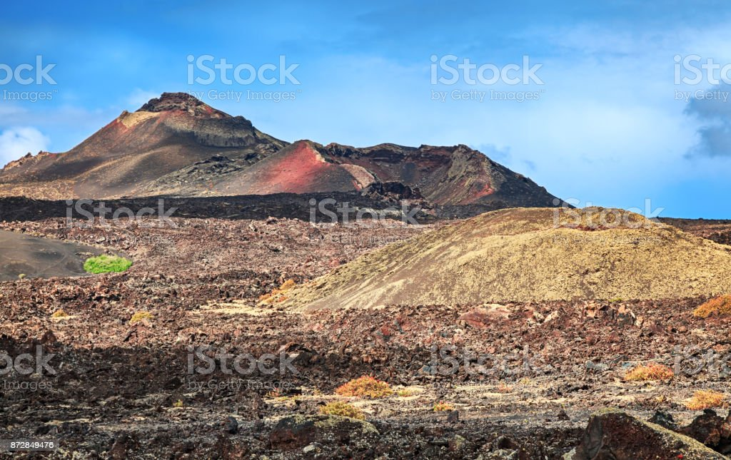 Volcanic landscape in Timanfaya National Park, Lanzarote, Canary Islands stock photo