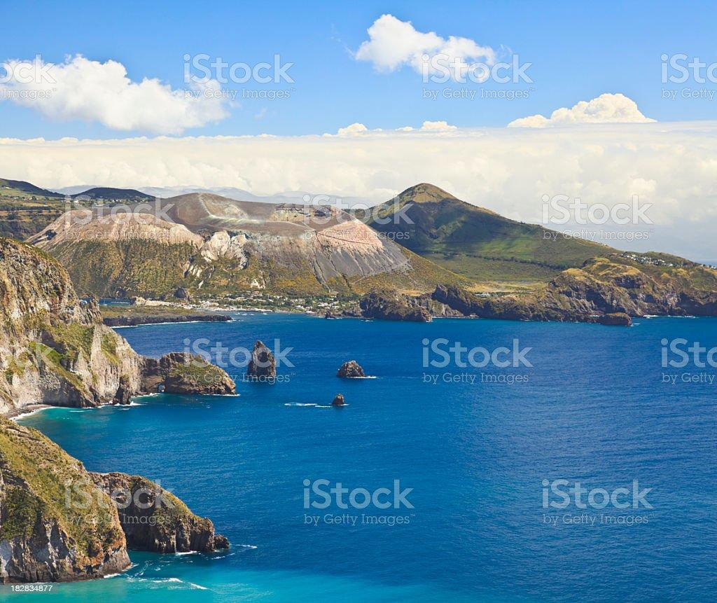Volcanic landscape of Isola Vulcano - island near Sicily, Italy, stock photo