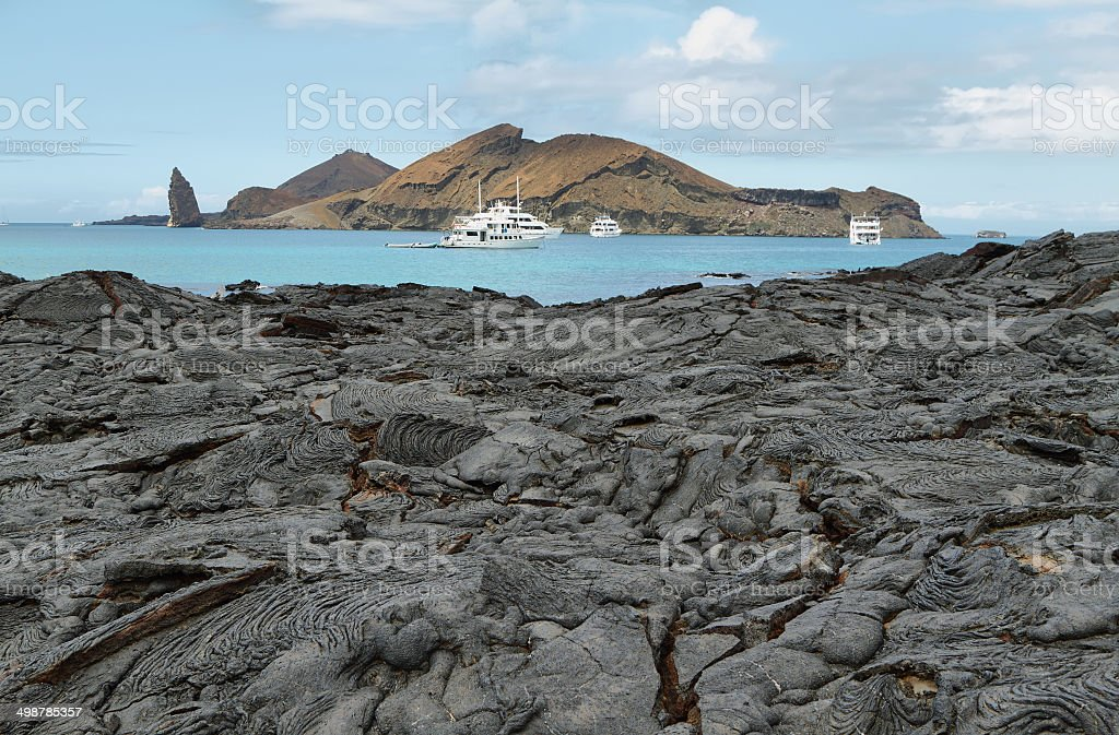 Volcanic landscape of Santiago island stock photo
