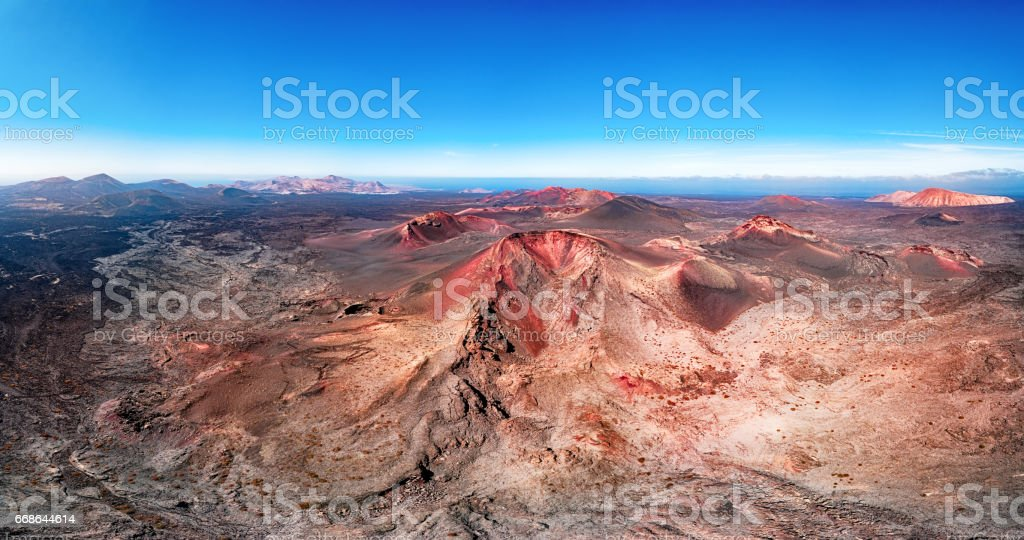 Volcanic landscape panorama, Timanfaya National Park, Lanzarote, Canary Islands stock photo