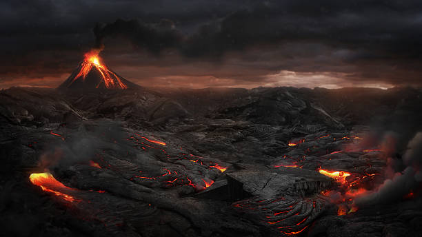 Volcanic landscape Landscape after volcanic eruption volcano stock pictures, royalty-free photos & images