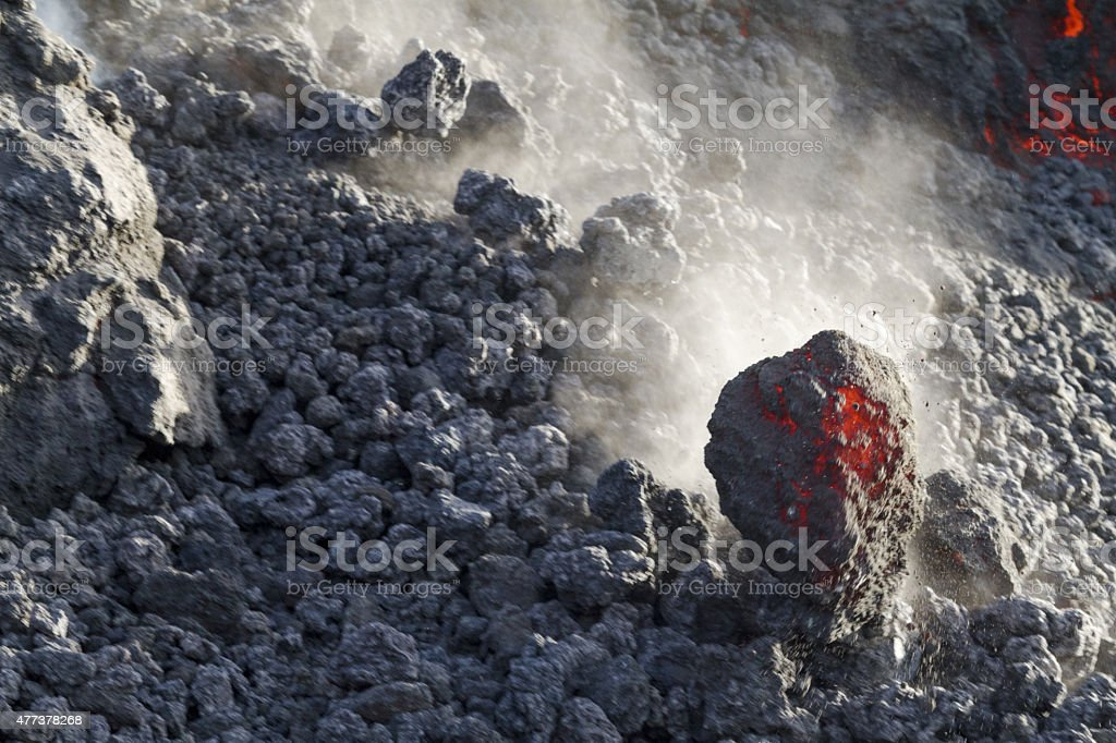 Volcanic lava flowing stock photo