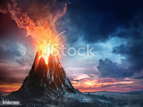 istock Volcanic Mountain In Eruption 670551650