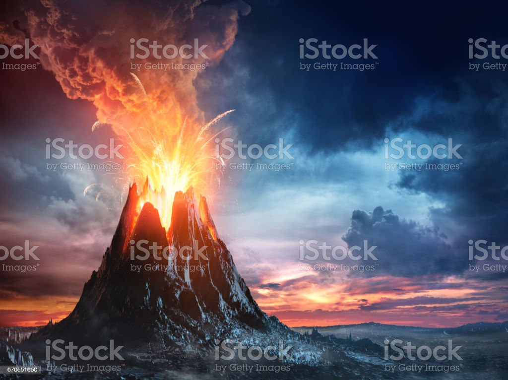 Volcanic Mountain In Eruption stock photo