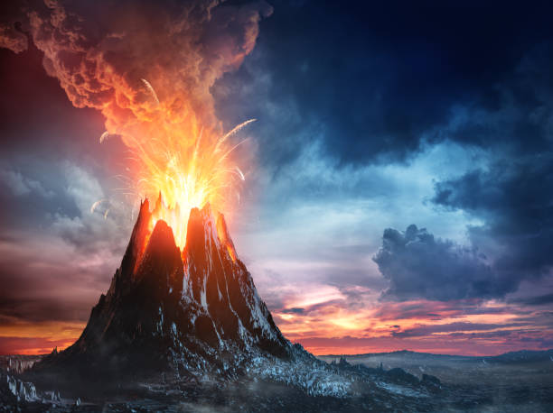 Volcanic Mountain In Eruption Exploding Activity With Lava - Natural Phenomenon - Illustration volcano stock pictures, royalty-free photos & images