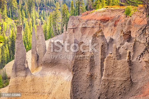 Pinnacles Trail in Crater Lake National Park, Oregon, USA. The pinnacles are a group of volcanic pumice spires formed by erosion.