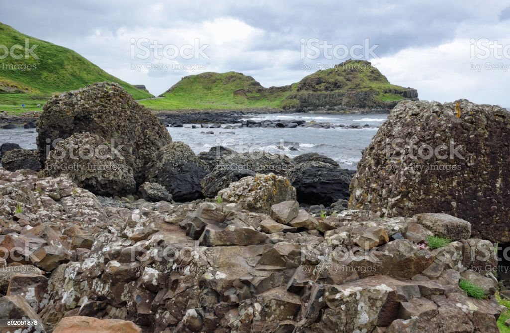 Volcanic Rock Formations at the Giants Causeway in Ireland stock photo
