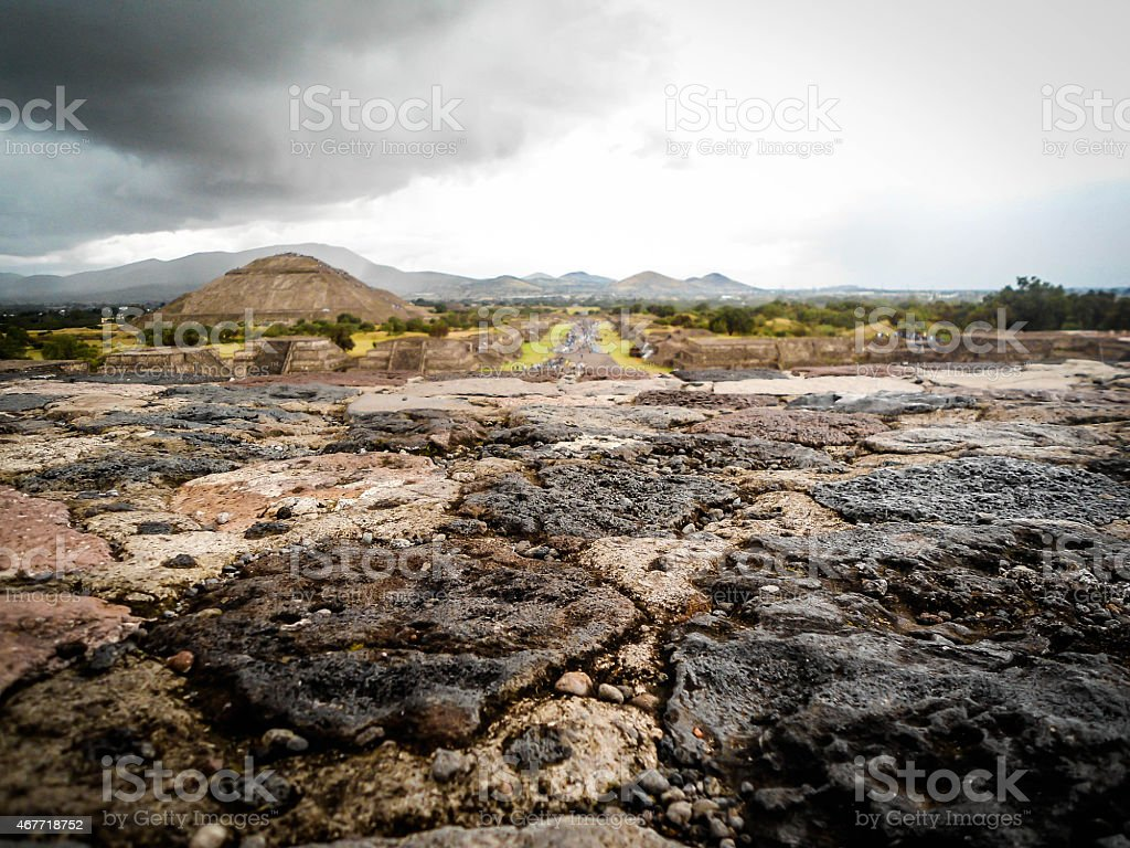 Volcanic rock of aztec pyramid ruins stock photo