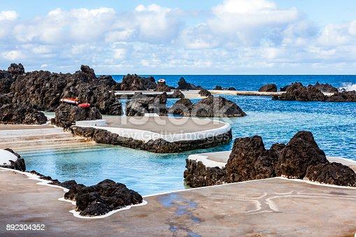 beautiful nature swimming pools at porto moniz, madeira island, portugal.