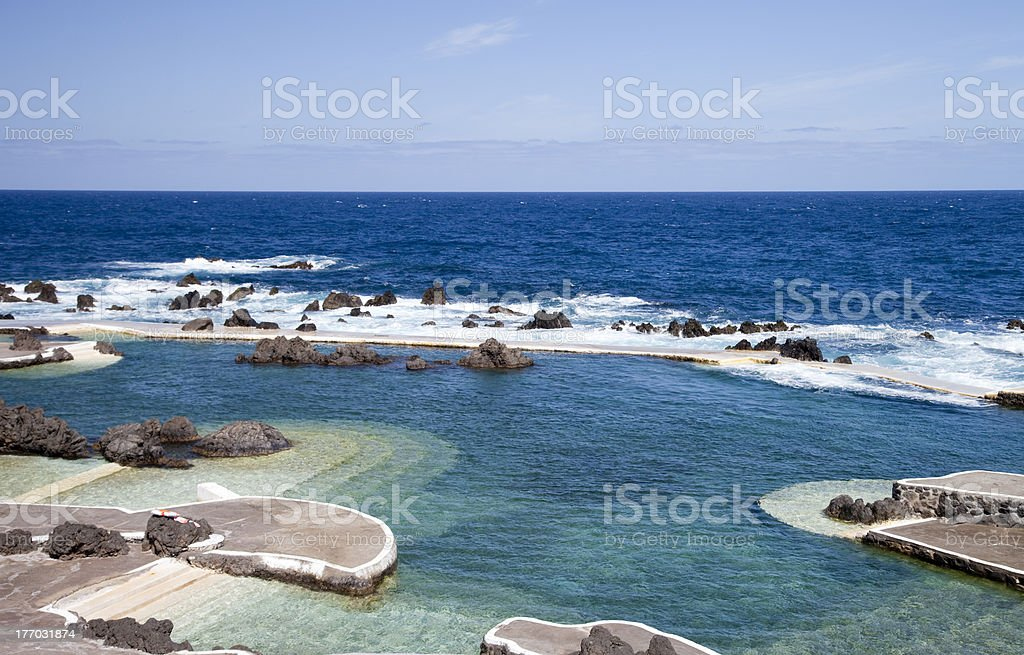 Volcanic Rock Swimming Pools, Madeira, Portugal stock photo