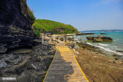 Volcanic rocks and footpaths by the sea.