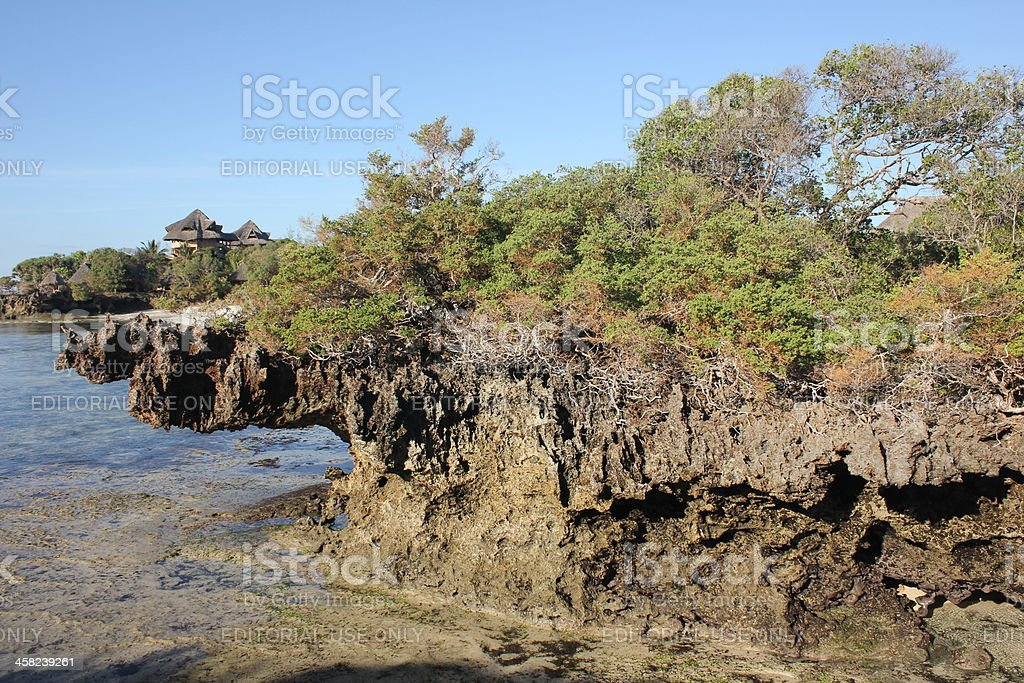 Volcanic rocks at the coast of Chale Island, Kenya. royalty-free stock photo