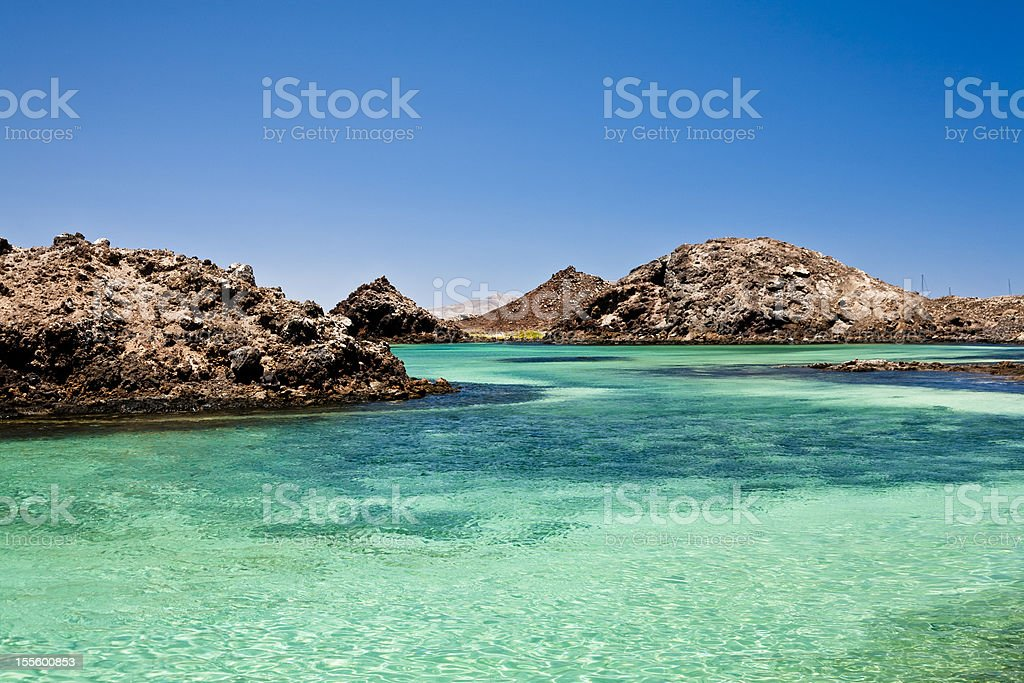 Volcanic seascape. Los Lobos island stock photo