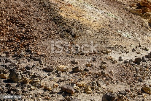 istock Volcanic soil of the Teide volcano on the island of Tenerife, Canary Islands, Spain. 1309953970