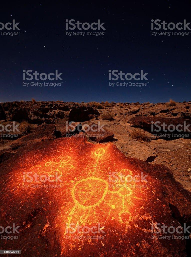 Volcanic Tablelands Petroglyph royalty-free stock photo