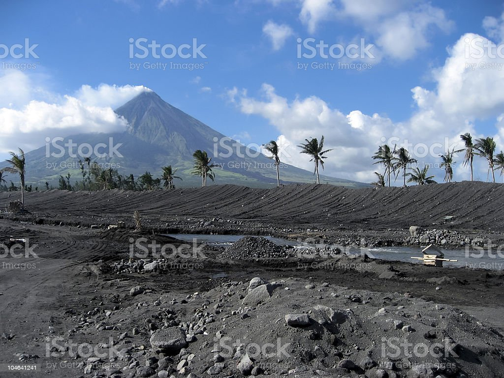 volcanic terrain mount mayon philippines stock photo