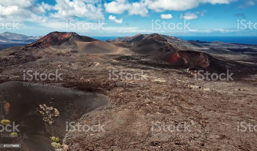 Volcanic valley panorama, Timanfaya National Park, Lanzarote, Canary Islands stock photo