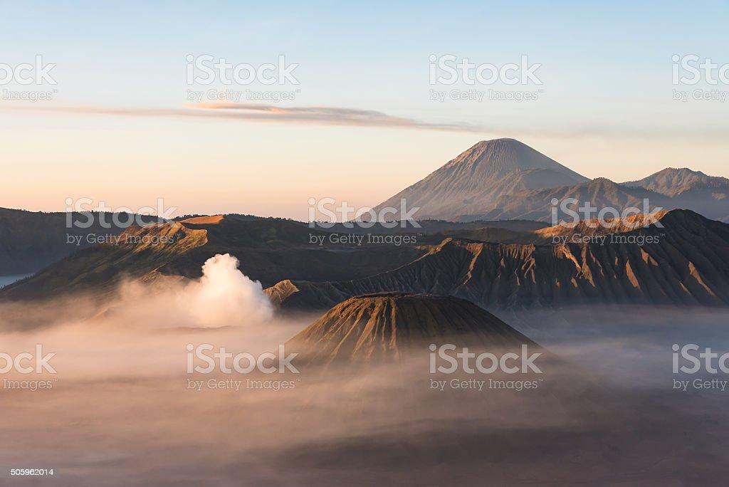 Volcano at sunrise. stock photo