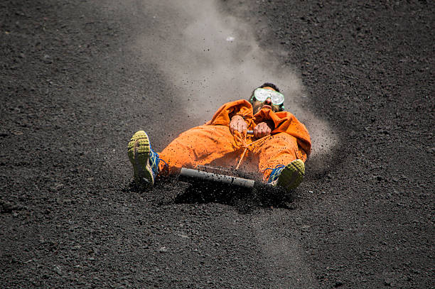 Volcano boarding stock photo