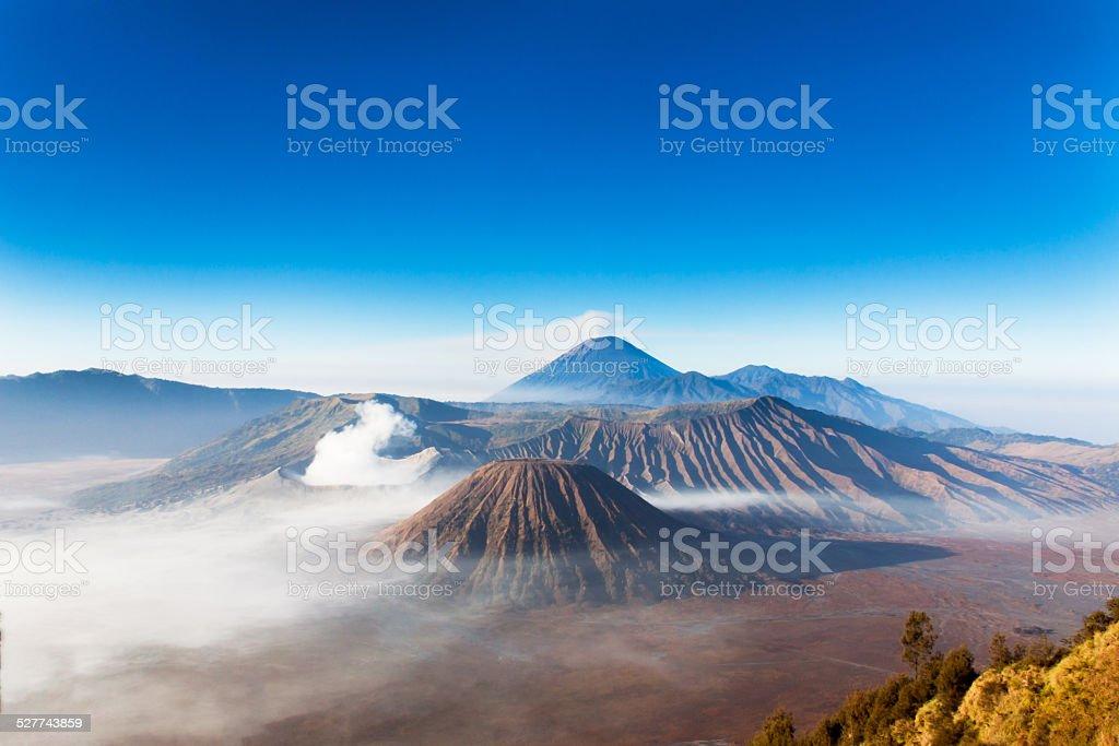 Volcano Bromo, Volcano Batox, Volcano Sameru stock photo