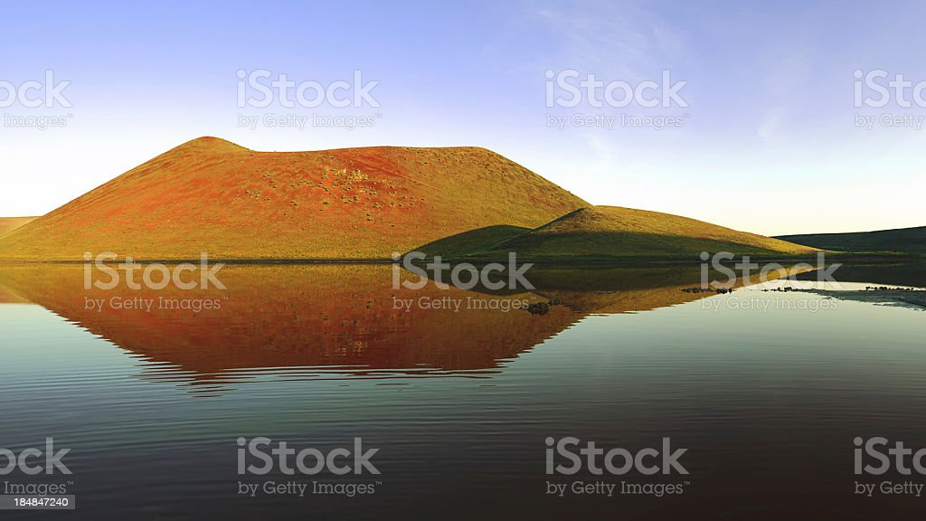 Volcano Crater Lake, sunrise time royalty-free stock photo