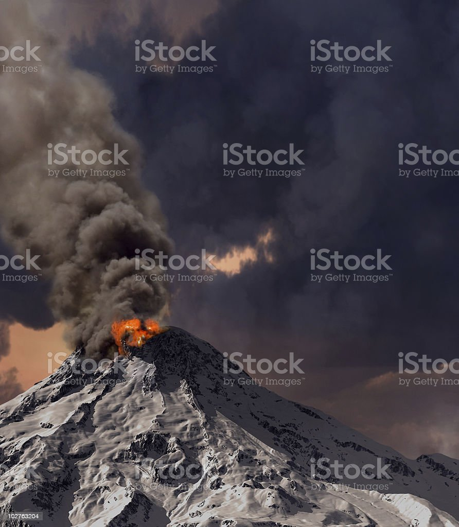 Volcano erupting lava, ashes, and smoke stock photo