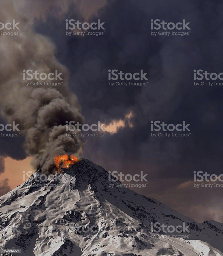 Volcano erupting lava, ashes, and smoke stock photo